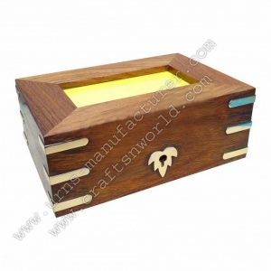 Wooden Human Urn With Lock And Photo Frame