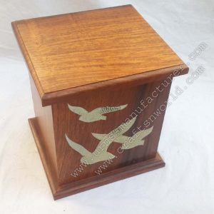 brass inlay wood urns