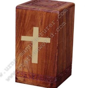 brass cross wood urns