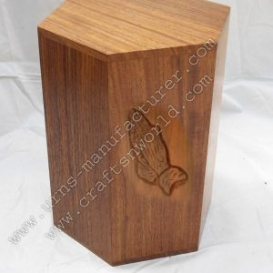 hands praying carved wooden human urn