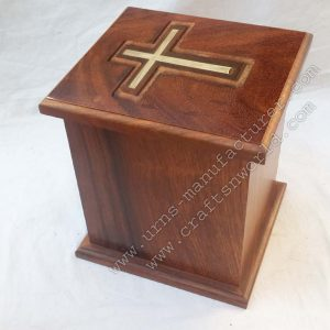 top brass cross wood urns