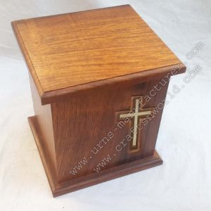 Wooden Human Urns With Cross Inlay