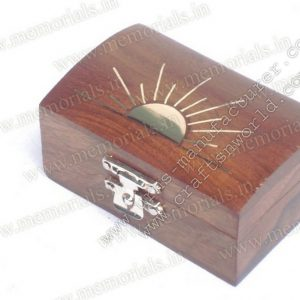 Wooden Hinges Keepsake With Sun Brass Inlay