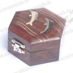 Wooden Keepsake With Fish Inlay On Top