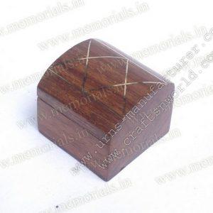 Wooden Keepsake With Brass Design On Top