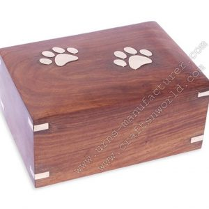 two brass paw wooden pet urns