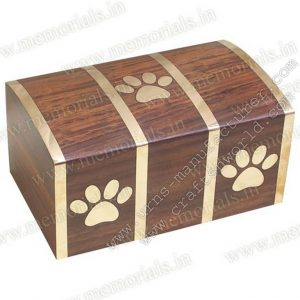 Indian Wood Pet Urn With Brass Inlay And Paw
