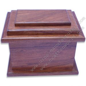 Shisham wood single piece urn box carving work with lid opening.