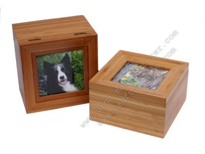 Top Photo Frame Pet Cremation Urn With Bottom Opening
