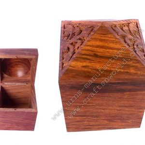 Hut Style Pet Urn With Carving And Lid Opening