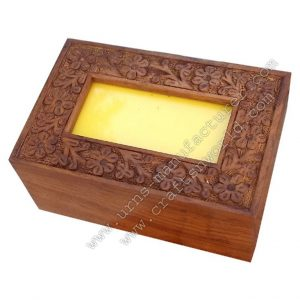 Top Photo Frame Pet Urn With Hand Carving