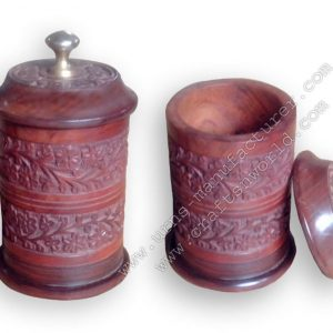 Wooden Turn Urn With Engraving Work