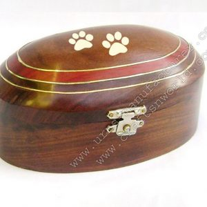 Wooden Turn Urn With Brass Inlay And Brass Paw