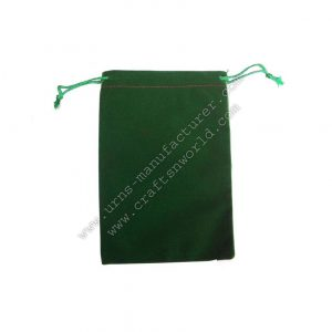 Nice Velvet Pouch Drawstring Green Colour