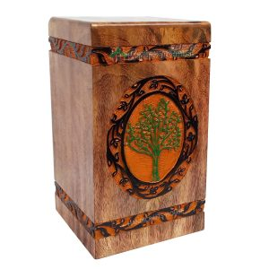 Keepsake Wooden Urns For Human Ashes, Wood Burial Adult Urn, Cremation Memorials Casket