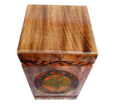 Keepsake Wooden Urns For Human Ashes, Wood Burial Adult Urn, Cremation Memorials Casket