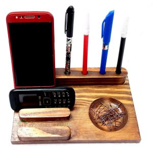 Wooden Cell Phone Stands with Pencil Holders – Handcrafted Wood IPone and Pen Stand, Business Cards Holder