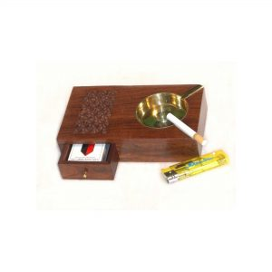 Wooden Cigar Ashtray - Ashes Tray Box with Cigarette & Cigars