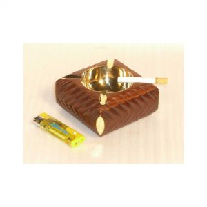 Brass and Wooden Round Ashtray - Nautical Handmade Ashtrays