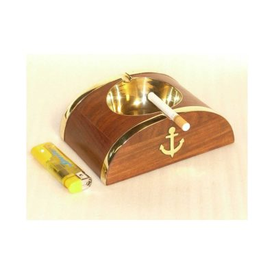 Brown Wooden Anchor Ashtray Vintage, Handicraft Gift Article