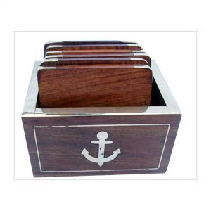 Square Wooden Drink Coasters for Office Table, Dark Wood Many Pieces Coaster Set