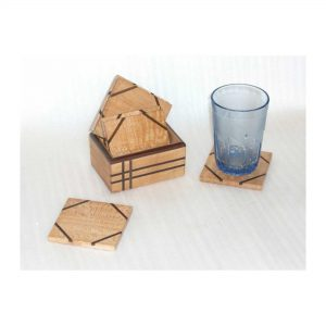 Coaster with Holder Set - Handmade Decorative Wooden Coasters for Juice Glass, Tea Cup