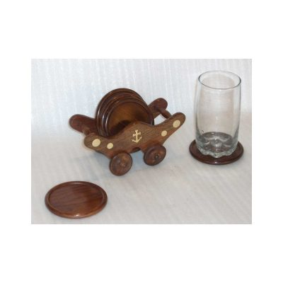 Cup Coaster, Wood Coasters with Stand - Handmade Decorative Wooden Coasters Holder for Juice Glass