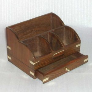 Wooden Brown Letter Rack, Letters Holder for Desktop - Solid Wood File Paper Storage