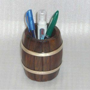 Pen Pencil Holder - Natural Wood Storage Box, Decorative Accessories for Desk