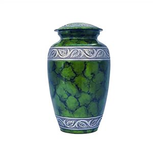 Metal Cremation Urn - Handcrafted Solid Urns for Human Ashes, Classic Green Funeral Keepsake with 200 Cubic/inches, Green