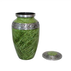 Adult Cremation Urn for Human Ashes, Decorative Memorial Large Casket – Pet Ash Urns with 200 Cubic Inches, Funeral Keepsake (Green)
