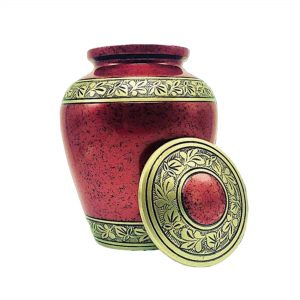 Red Cremation Urns for Human Ashes Adult for Funeral, Burial Keepsake Urn for Pet Ash with 200 Cubic Inches/Large Size Casket