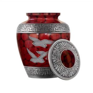 Wings of Freedom Cremation Urn for Human Ashes, Affordable Adult Funeral Urns – Memorials Casket with 200 Cubic/Inches (Red, Large)