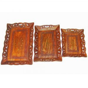 Wooden Breakfast Trays For Kitchen, Dining Room, or Living Room – Farmhouse Platters (set of 3)